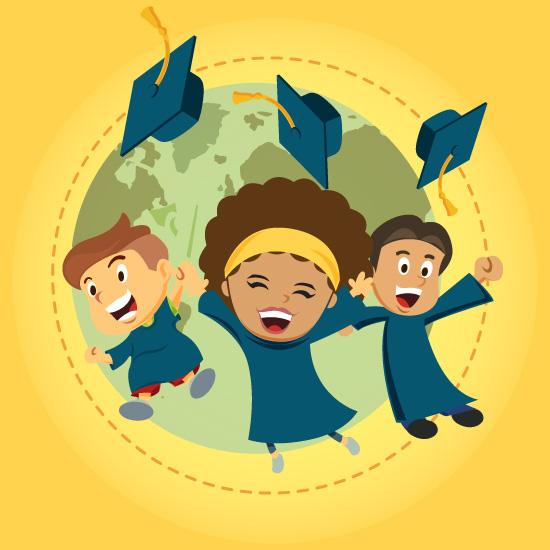 dibujo de niños graduados saltando
